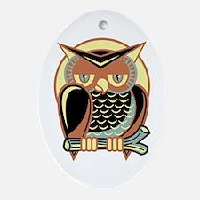 Retro Owl Ornament (Oval)