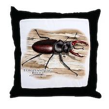 European Stag Beetle Throw Pillow