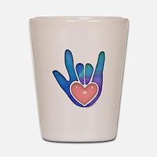 Blue/Pink Glass ILY Hand Shot Glass