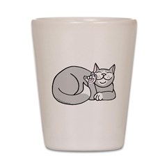 Tuxedo ASL Kitty Shot Glass