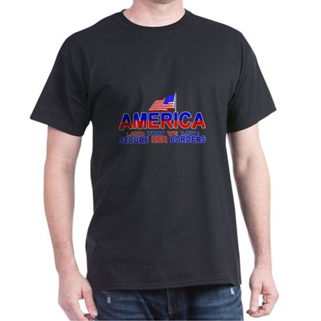 America Secure Our Borders Black T-Shirt