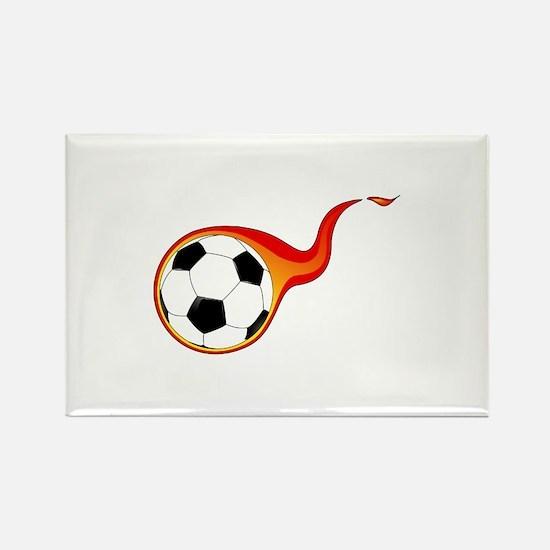 Burning Soccer Ball Rectangle Magnet