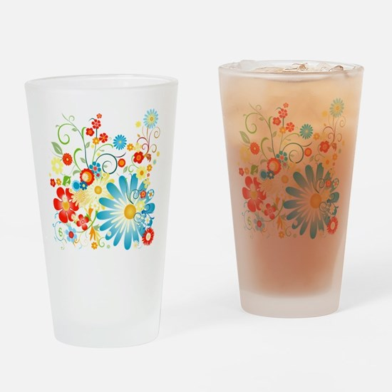 Floral explosion of color Drinking Glass
