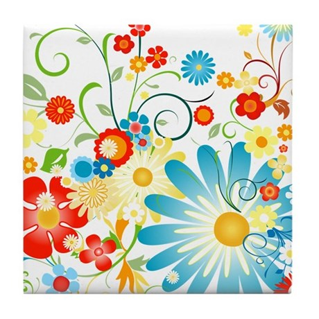 Floral explosion of color Tile Coaster