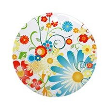 Floral explosion of color Ornament (Round)