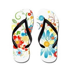 Floral explosion of color Flip Flops