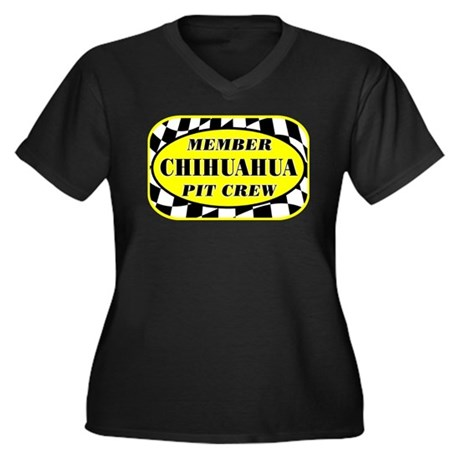 Chihuahua PIT CREW Women's Plus Size V-Neck Dark T