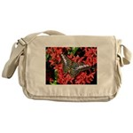Butterfly on Red Flowers Messenger Bag