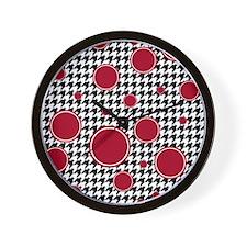 Houndstooth & Crimson Wall Clock