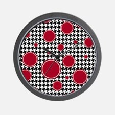 Houndstooth & Crimson Wall Clock