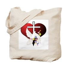 Christian Dove and Cross Tote Bag