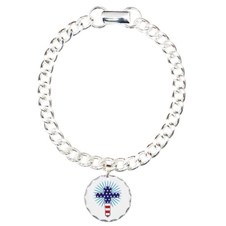 American Flag Cross Charm Bracelet, One Charm