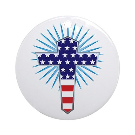 American Flag Cross Ornament (Round)