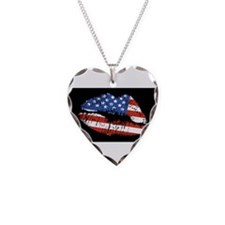 American Kiss Necklace Heart Charm