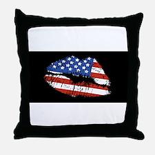 American Kiss Throw Pillow