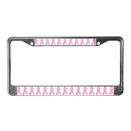Pink Ribbon Print License Plate Frame