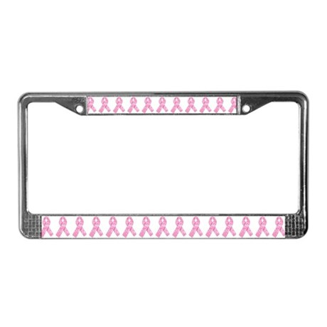 pink ribbon print license plate frame by artegrity