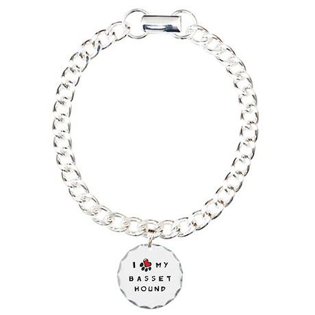 I *heart* My Basset Hound Charm Bracelet, One Char