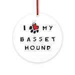 I *heart* My Basset Hound Ornament (Round)