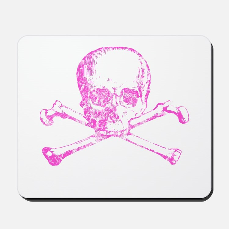 Pink Skull and Bones Mousepad