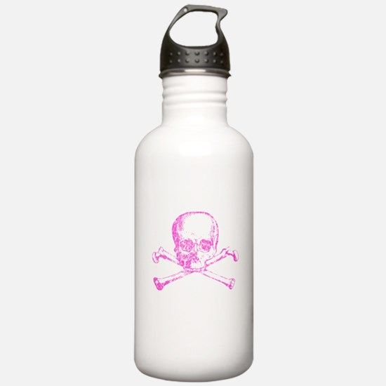 Pink Skull and Bones Water Bottle