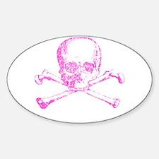 Pink Skull and Bones Sticker (Oval)