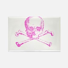 Pink Skull and Bones Rectangle Magnet