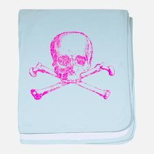 Pink Skull and Bones baby blanket
