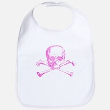 Pink Skull and Bones Bib