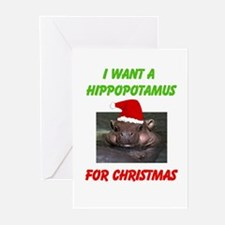 Unique Hippo christmas Greeting Cards (Pk of 20)