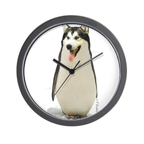 Malamute Penguin Wall Clock