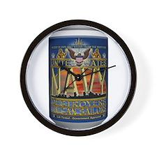 USN Blue Tin Can Sailor Wall Clock
