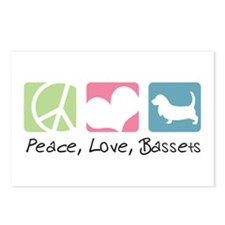 Peace, Love, Bassets Postcards (Package of 8)