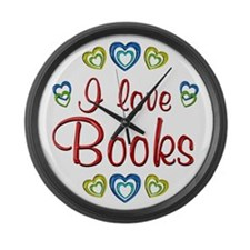 I Love Books Large Wall Clock