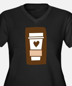 Latte Love Women's Plus Size V-Neck Dark T-Shirt