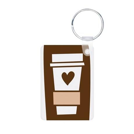 Latte Love Aluminum Photo Keychain