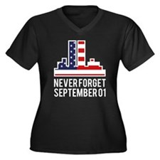 9 11 Never Forget Women's Plus Size V-Neck Dark T-