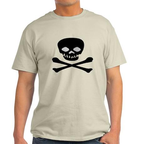 Black Skull and Crossbones Light T-Shirt