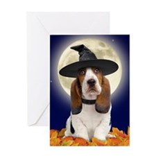 Basset Hound Halloween Greeting Card