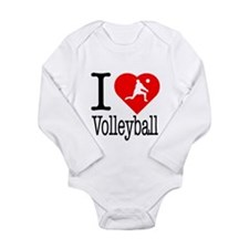 I Love Volleyball Long Sleeve Infant Bodysuit