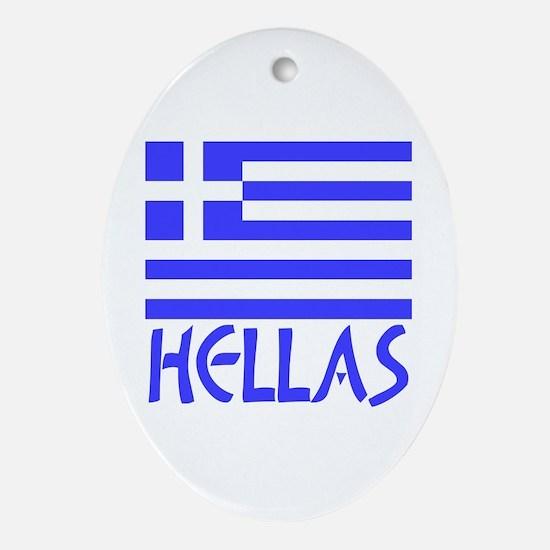 Greek Flag & Hellas Ornament (Oval)