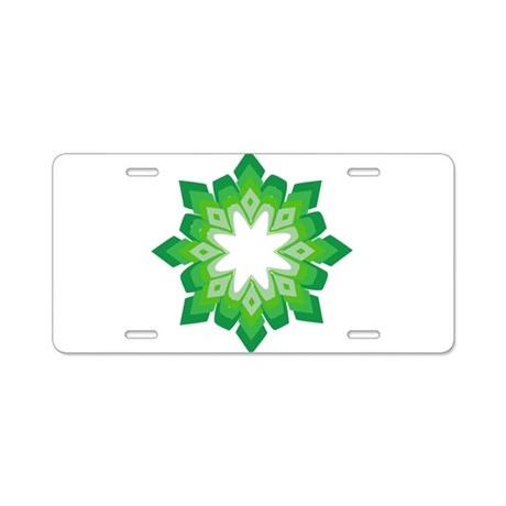 Green Snow Flake Aluminum License Plate