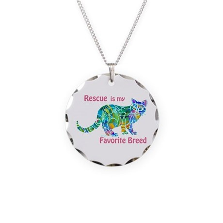 RESCUE is Favorite Breed CATS Necklace Circle Char