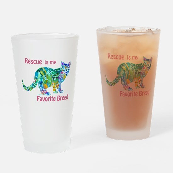 RESCUE is Favorite Breed CATS Drinking Glass