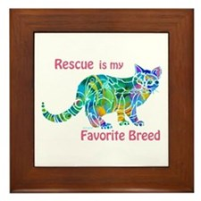 RESCUE is Favorite Breed CATS Framed Tile