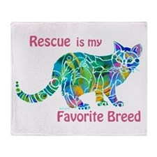RESCUE is Favorite Breed CATS Throw Blanket