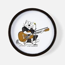 Accoustic Guitar Cat in BLACK Wall Clock