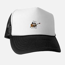 Accoustic Guitar Cat in BLACK Trucker Hat