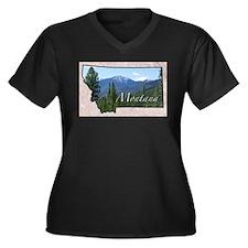 Funny States Women's Plus Size V-Neck Dark T-Shirt