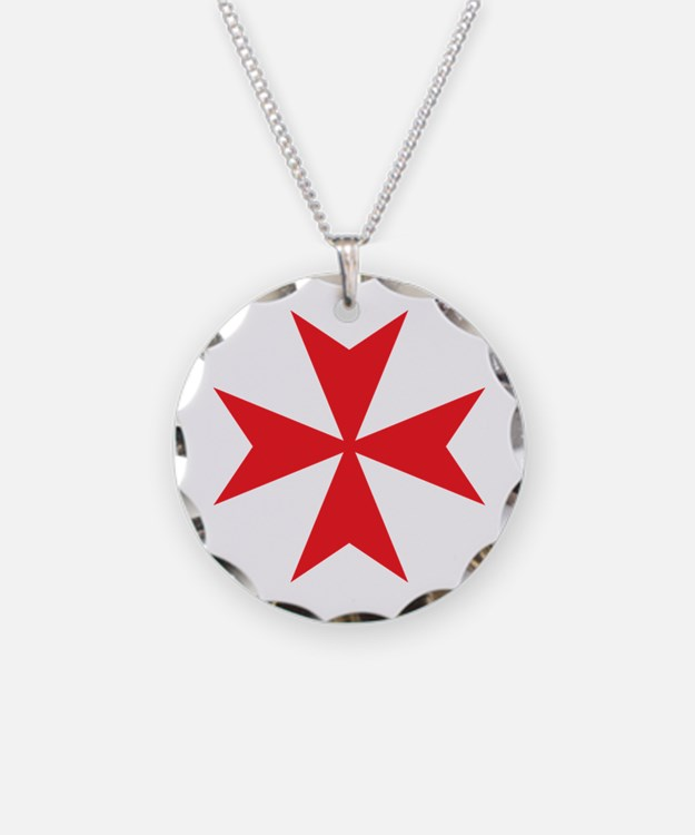 Red Maltese Cross Necklace